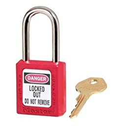 Government Safety Lockout Padlock, Zenex, 1 1/2 inch, Red, 1 Key