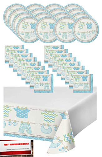 Blue Boy Baby Shower Party Supplies Bundle Pack for 16 - Plates, Napkins and Table Cover (Plus Party Planning Checklist by Mikes Super Store) (Boy Blue)]()