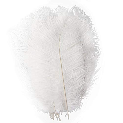 Pukido 10pc/lot 6-30inch All Size Options White Ostrich Feathers for Crafts Carnival Party Halloween Wedding Decorations Jewelry Plumes - (Color: 15-20cm -