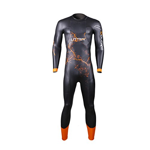 UTTER Volcano Man Long Sleeves 5mm Smooth Skin Entry Level Triathlon Surfing Swimming Wetsuit with Yamamoto SCS Neoprene, Black - Level Wetsuit Entry Triathlon
