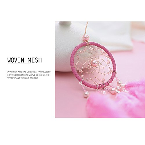 Per Mini Handmade Dream Catchers Wind Chimes Dreamcatcher Net Hanging Decoration Ornament For Room Car (2.713.54in)-Pink by Per (Image #4)