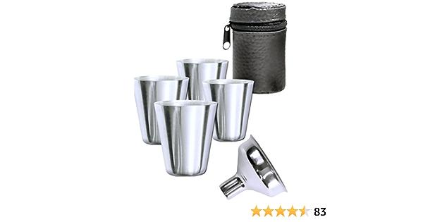 Outdoor Saxx® - Juego de 6 vasos de acero inoxidable, juego de vasos, 4 vasos de chupito de 30 ml y embudo de llenado en bolsa de piel, accesorio ...