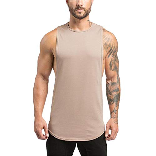 WKDYBD Summer Men's Tank Tops Shirts,Muscle Fit Gym Bodybuilding Workout Tank Top Ventilated Singlet Beige