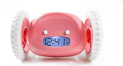 Rightwell Despertador Reloj con Alarma Sobre Ruedas-Despertador LED con Información de Fecha(Rosado)
