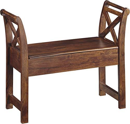 Ashley Furniture Signature Design - Abbonto Storage Accent Bench - Casual - Warm Brown Finish ()