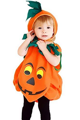 (Halloween Pumpkin Jumpsuit Costume Toddler Dress up Cosplay Party Clothes Boys Girls (Orange))
