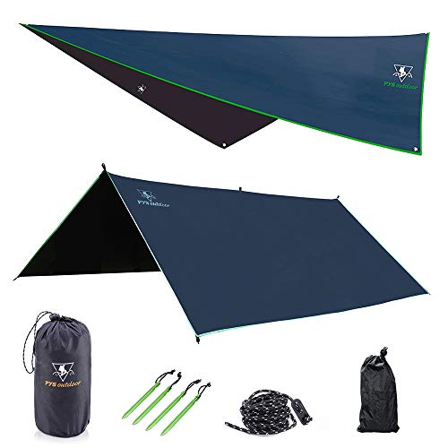 pys Hammock Rain Fly - Waterproof Tent Trap Camping Backpacking Survival Shelter by Premium Lightweight Ripstop Fabric, Fast Set Up, Stakes and Ropes Included for Hiking, Travel (10' x 10')