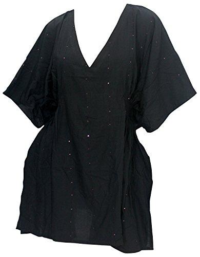 La Leela pura viscosa lentejuelas v playa del vestido de túnica relajado encubrimiento Rosa