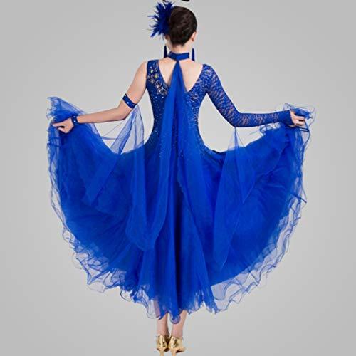 Robe Standard l Valse Pour Royalblue Les Modernes Costumes Robes Salon Wqwlf Lisse De Performance Danse Compétition Femmes Tf5qUw6px