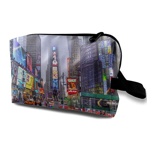 FSXIK Manhattan New York Skyscraper Colored Novelty Women Cosmetic Bag Quality Zipper Single Layer Travel Storage Makeup Bags Purse