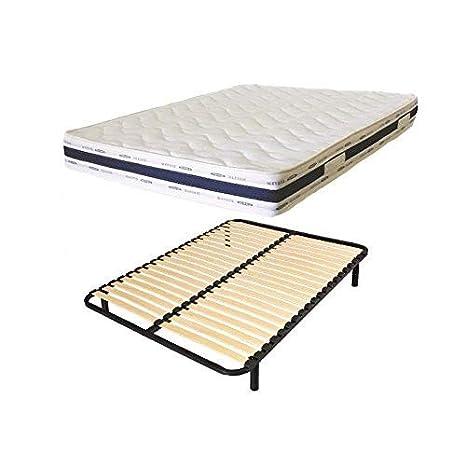 france-matelas Cama 1 Personas 90 x 190 colchón Luxe Confort + somier Listones: Amazon.es: Hogar