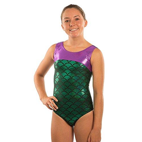 3f718f2b36 Lizatards Leotard Mermaid Girls Gymnastics Leotard Mermaid Bow Back in Girls  and Adult Sizes Choose Your