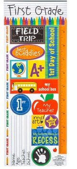 First Grade School Cardstock Sticker Sheet Scrapbooking