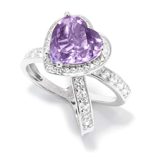 Pinctore Sterling Silver 4.3ctw African Amethyst and White Zircon Heart Shaped Ring, Size 7