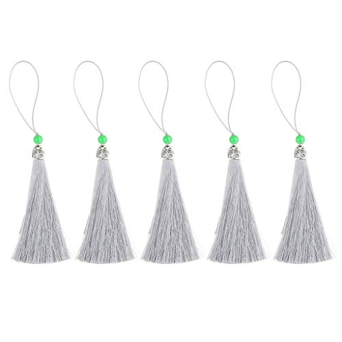 (Agordo 5 Pcs Long Tassels for Jewelry Making Bookmarks Chinese Hand Fan Pendant |Color - Grey)
