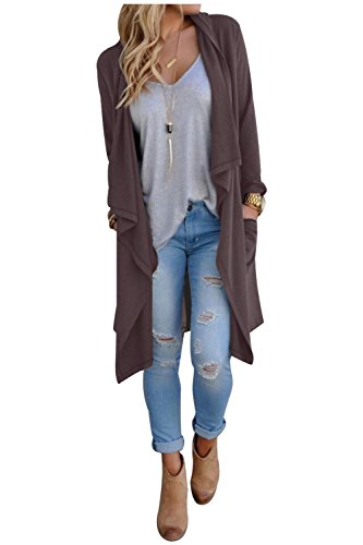 Aifer Women Long Sleeve Knitted Open Front Waterfall Draped Trench Coat Cardigan