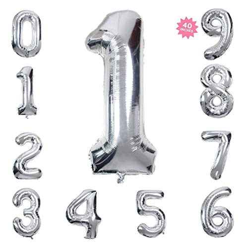 40 Inch Giant Helium Foil Number 0-9 Silver Balloon Birthday Wedding Party Decorations (Silver Number Balloon 1) (Free Straw + Ribbons)