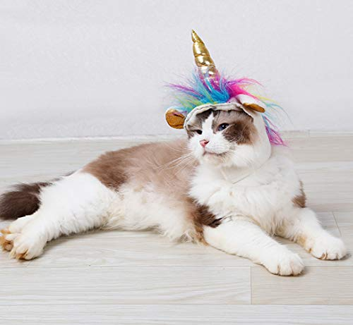 Unicorn Costume for Cats, Horn Headdress Wig Pet Dress Up Party