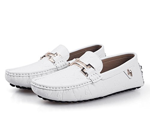 Casual Slip Hombre de Negocio Conducción On Mocasines Zapatillas Moda Loafers Stutio SK Zapatos Cuero Blanco Planos de 6xAXg