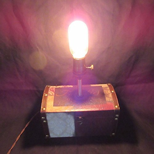 Edison Box Lamp #4 ~ Handmade, Nostalgic, Vintage-Style, Steampunk, Table Lamp w/Storage for Jewelry and other Treasures