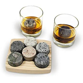 Sea Stones On the Rocks Granite 6-Piece Whiskey Chilling Stones Set with Two 10-Ounce Tumblers and Hardwood Presentation/Storage Tray
