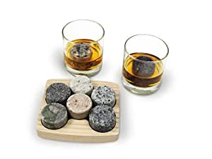 "Granite Whiskey Chilling Stones ""On the Rocks"" with 2 Free 10-Ounce Tumblers and Presentation/Storage Tray by Sea Stones"