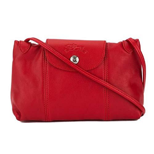 Longchamp Women's Leather Le Pliage Cuir Crossbody Bag Red