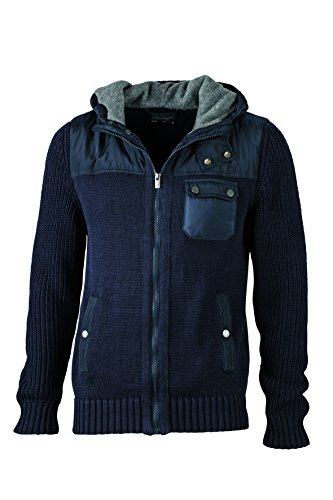 Winter lightgrey Men's Maglia Con Grossa In Navy Cardigan Giacca melange Cappuccio Knitted gwx0U7Oq