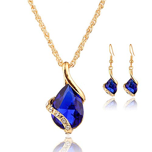 Gbell Clearance ! Fashion Women Gemstone Pendant Necklace Spiral Drop Hook Earrings Jewelry Set for Ball Wedding Party Date Anniversary Birthday Gift Wearing (Blue) ()