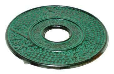 Japanese Cast iron Tea Pot Cup Set Green Bamboo (Green Bamboo Trivet)