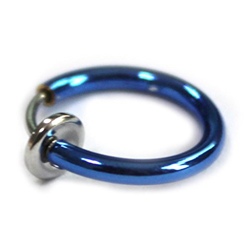 HuntGold 2X Fashion Punk Style No Pierced Ears Piercing Body Nose Lip Rings Ear Clip Earrings(blue)