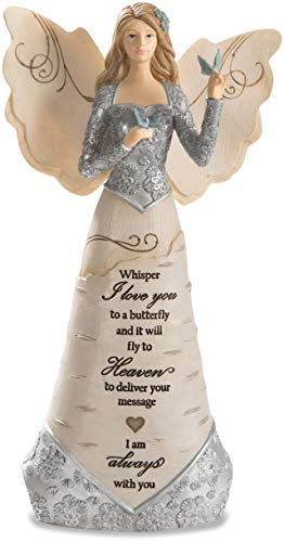 "Pavilion Gift Company Whisper I Love Will Fly to Heaven to Deliver Your Message-I Am Always You 9"" Angel Holding Butterfly, 9 Inch, Beige from Pavilion Gift Company"