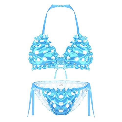 Blue Polka Dots Bikini Set in Australia - 8