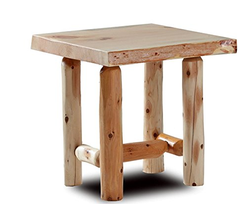 Rustic Log End Table Pine and Cedar Natural Clear