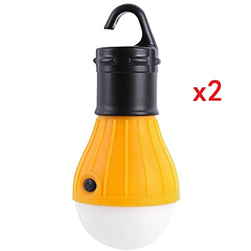 Monstgear 2 Pack Hanging Lantern 3 Led Hook Tent Light Bulb For Outdoor Camping Hiking Fishing Portable Battery Powered Emergency Yellow