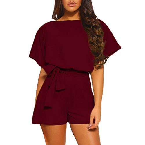 Womens Short Sleeve Wide Leg Pants Solid O-Neck Short Jumpsuit Strappy Playsuit Teresamoon Wine