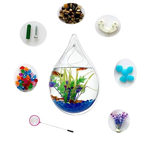 (Hofumix Wall Hanging Fish Tank Acrylic Fish Bubble Water Drop Type Flower Pot with Fake Plants 9.4in)