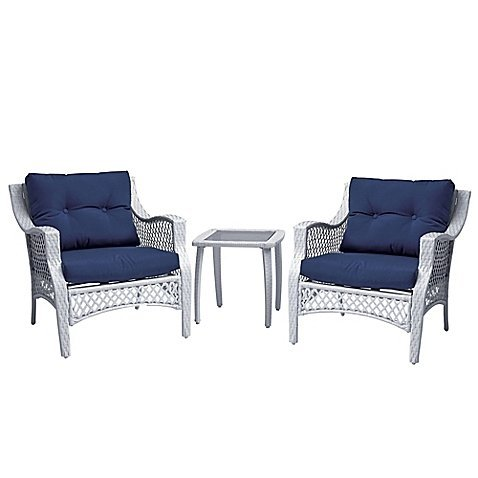 Plush 3 piece wicker patio chair and table set outdoor for Best deals on patio sets