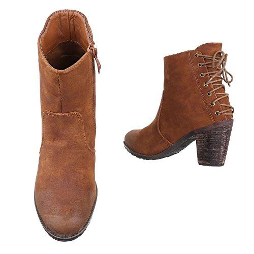 Ital-Design Cowboy-/Westernstiefeletten Damen Schuhe Cowboy Stiefel Kubanischer Absatz Western Style Reißverschluss Stiefeletten Camel