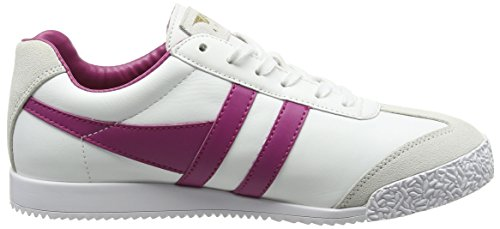 White Low Gola Harrier Sneakers Leather Hot Fuchsia Top Women's White x1tYaqwtH