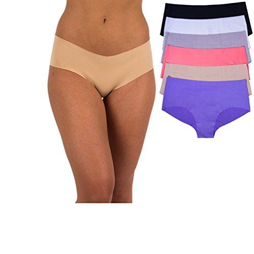 Boy Panty Cut - Sexy Basics Women's 6 Pack Laser Cut Seamless Invisible Boyshort Panty (S, 6 PK-White/Nut/Peach/Purple/Gray/Black)