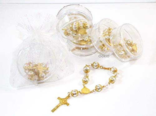 12 Baby Gold Rosary Beads Beaded Blue and Silver Catholic Christian Crucifix Cross Pearl Bracelet Baptism Favors Recuerdos De Bautizo Communion Car with Gift Bag