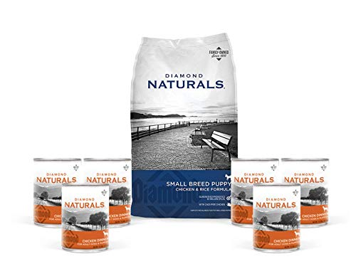 Diamond Natural Puppy Food Small Breed Formula Chicken and Rice Variety Bundle 9 Items 1 Dry Bag 6 lbs Plus 6 Wet Cans of Chicken Dinner 1 Pet Food Lid -