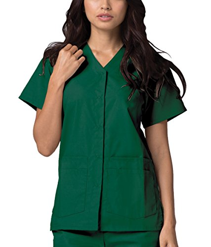 Scrubs Lab Green - Adar Universal Double Pocket Snap Front Top (Available in 39 Colors) - 604 - Hunter Green - XL