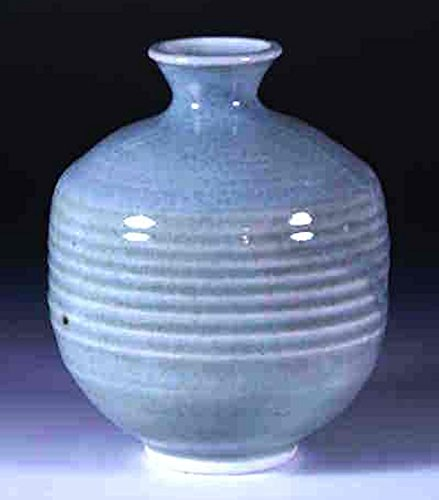 "Hand thrown porcelain celadon bottle vase 021 5"" x 5.5"""