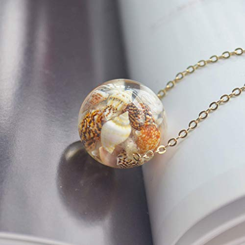 Ocean Beach Conch Resin Transparent 18K Gold Plated Long Necklace 26 Length Chain