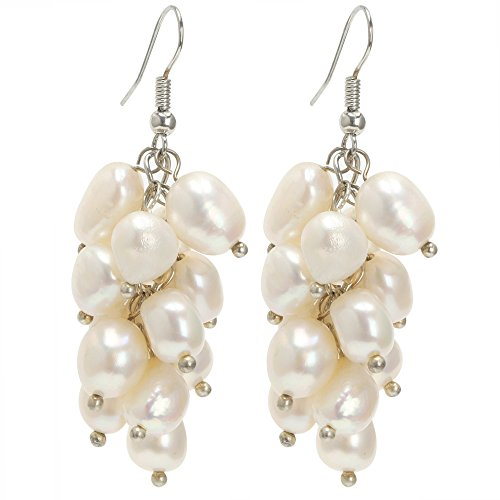 - Women Freshwater Cultured Pearl Dangle Earring 7-8mm Beads Fashion Hook Earring for Bridal Wedding Jewelry