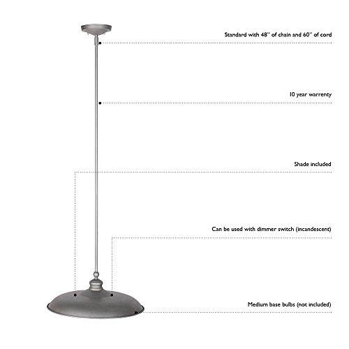 Design House 519660 Ajax 1 Light Pendant, Galvanized Steel Finish by Design House (Image #1)