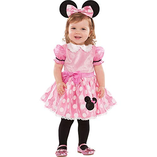 Costumes USA Pink Minnie Mouse Costume for Babies, Size 12-24 Months, Includes a Dress and a Headband with Ears