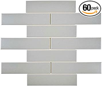Box of 10 Sq Ft, White Designed in Italy Wall Tile,Backsplash Tile Subway Tile White Matte Finish 2 X 6 Bathroom Tile